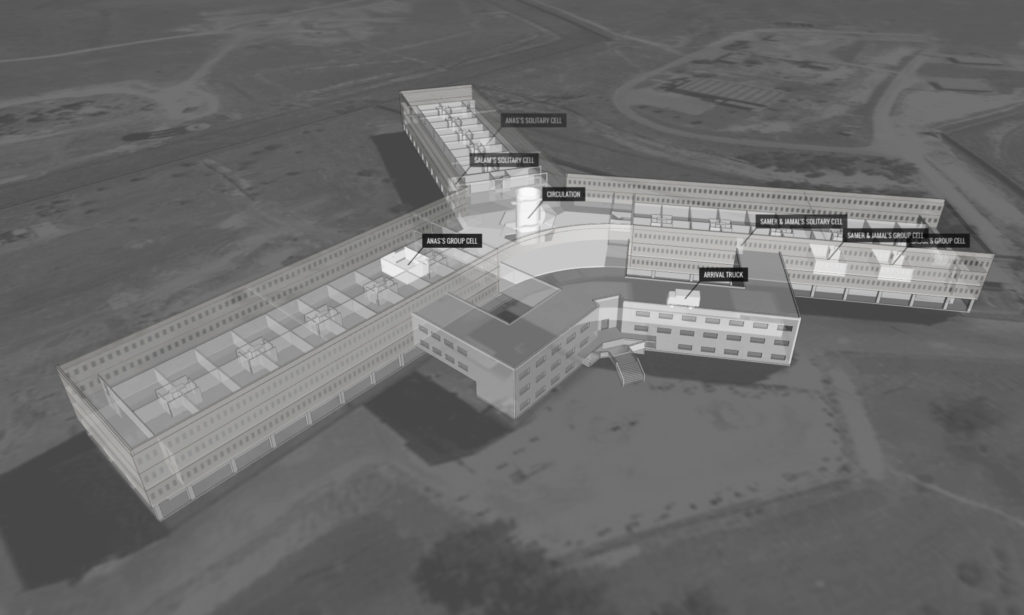 Sadnaya - Syria detentions - Collaboration with Forensic Architecture. Illustrations taken from the Forensic Architecture Platform. Saydnaya Military Prison is located 30km north of Damascus, Syria. The prison is under the jurisdiction of the Minister of Defence and operated by the Military Police. Saydnaya became notorious for the use of torture and excessive force following a riot by detainees in 2008. There are two buildings on the Saydnaya site, which between them could contain 10,000-20,000 prisoners. In April 2016, Amnesty International and Forensic Architecture travelled to Turkey to meet a group of survivors from Saydnaya prison. Since 2011, journalists and other monitoring groups have been unable to visit the prison and speak with prisoners from Saydnaya, so this was an opportunity to tell their stories. As there are no images of Saydnaya, we were dependent on the memories of survivors to recreate what happened inside. Using architectural and acoustic modelling, we helped witnesses reconstruct the architecture of the prison and their experiences of detention. The interview techniques were developed by Forensic Architecture at Goldsmiths, University of London, in consultation with the university's Forensic Psychology Unit.